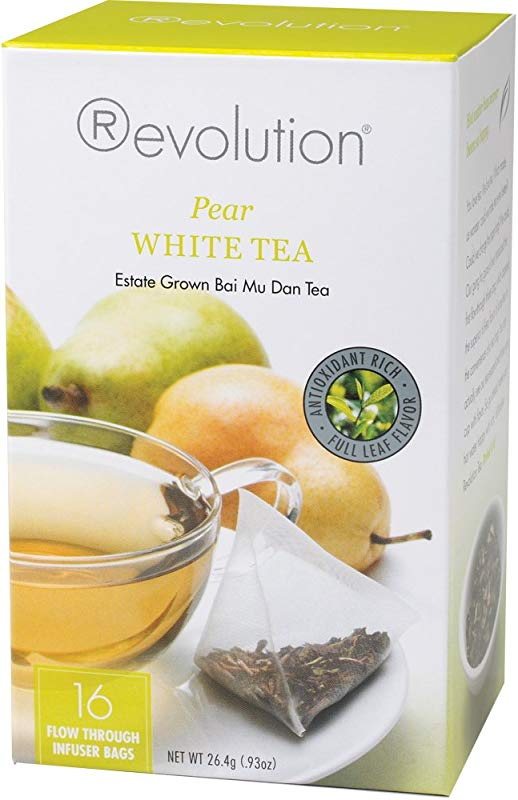 Revolution Tea White Pear Tea 16 Flow Through Infuser Bags In A Stay Fresh Container