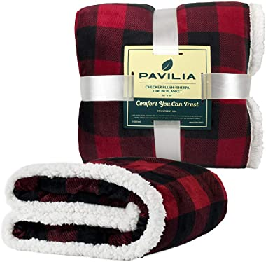 PAVILIA Buffalo Check Sherpa Blanket Throw | Red Black Checkered Flannel Fleece Blanket | Christmas Plaid Warm Plush Microfib