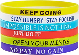 BRANDWINLITE Rubber Silicone Wristbands, Inspirational Rubber Bracelets,Messages Motivation and Inspiration,Non-Toxic Hypoallergenic,Gifts for Men Ladies and Teens