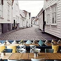 3Dヨーロッパホワイトストリート壁画壁紙レストランカフェリビングルーム背景壁家の装飾壁紙-200x140CM