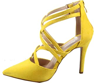FZ-Young-04 Women's Fashion Sexy Strappy Buckle Pointed Toe Rear Zipper Sandal Shoes