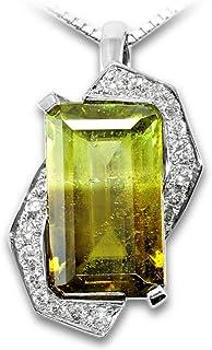 【鑑別付】Pt900 天然バイカラースフェーン 5.322ct ダイモンド 0.278ct プラチナ イエロー/グリーン ペンダント チャーム レディース