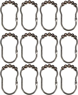 Shower Curtain Ring Hooks Metal for Shower Rods Curtains Liners Black Ball 6Pcs