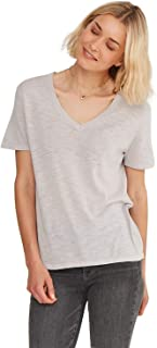 Women's Lightweight 100% Cotton Loose Casual V- Neck Short Sleeve Cotton T-Shirt