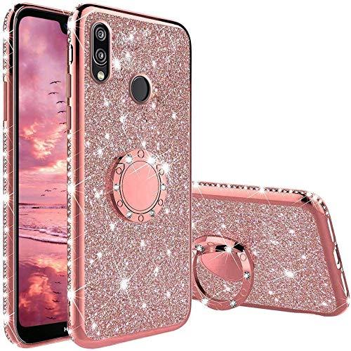 TVVT Glitter Crystal Funda para Huawei P20 Lite, Glitter Rhinestone Bling Carcasa Soporte Magnético de 360 Grados Ultrafino Suave Silicona Lujo Brillante Rhinestone - Rosa