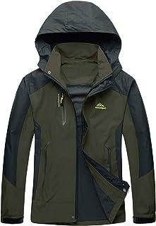 LASIUMIAT Men's Winter Coat Windproof Waterproof Outdoor Mountain Softshell Hiking Rain Jacket with Hood