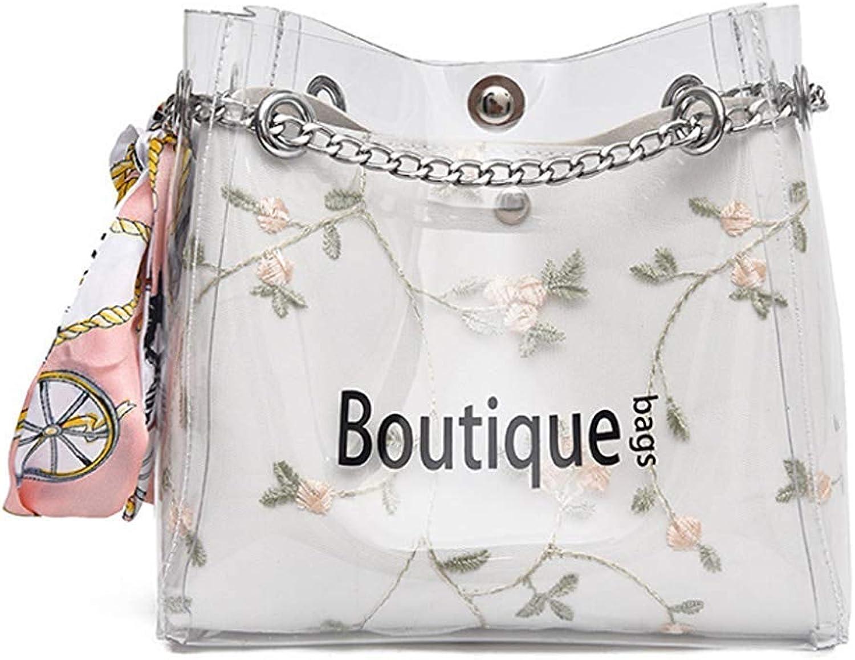 Huasen Evening Bag Lady's Transparent Bag ,Metal Chain Crossbody Bag Handbag for Travel, Beach Party Handbag (color   White)