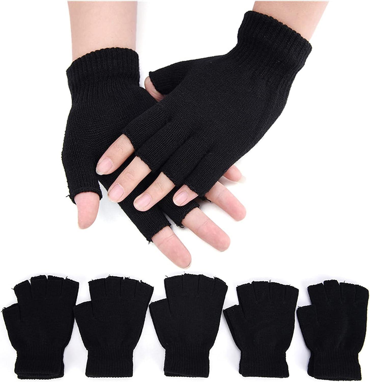 LDDJ Gloves 1Pair Black Half Finger Fingerless Gloves for Women and Men Wool Knit Wrist Cotton Gloves Winter Warm Workout Gloves Keep Warm