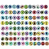 Jinlaili 100 Piezas Ojos de Vaso Colorado, 12mm Ojos de Animales Manualidades, Ojo de Muñeca para Juguete, Vaso Muñeca Ojos, DIY Ojos Accesorio para Niños Fabricación de Joyas Hecho a Mano