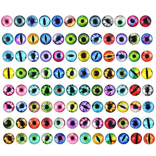 Jinlaili 100 Stück Glas Puppen Auge, 12mm Bunte Glasaugen, Cabochon Glas Dracheauge, DIY Tier Augen Schmuck, Glaskuppel Augen zum Basteln, Glas Sicherheit Augen für Kunstpuppen Bär Plüschtier
