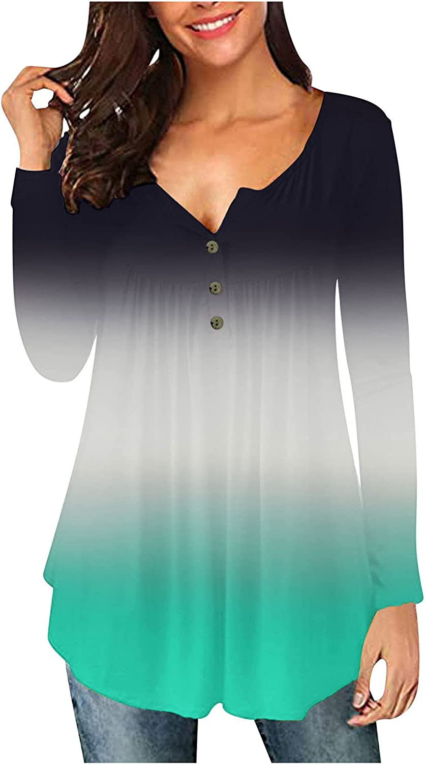 felwors Long Sleeve Shirts for Women, Womens Pullover Tops Button Up Casual Plus Size Long Sleeve Crewneck Tunics