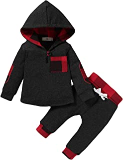 Baby Boy Clothes Fall Outfits Plaid Pocket Hoodie...