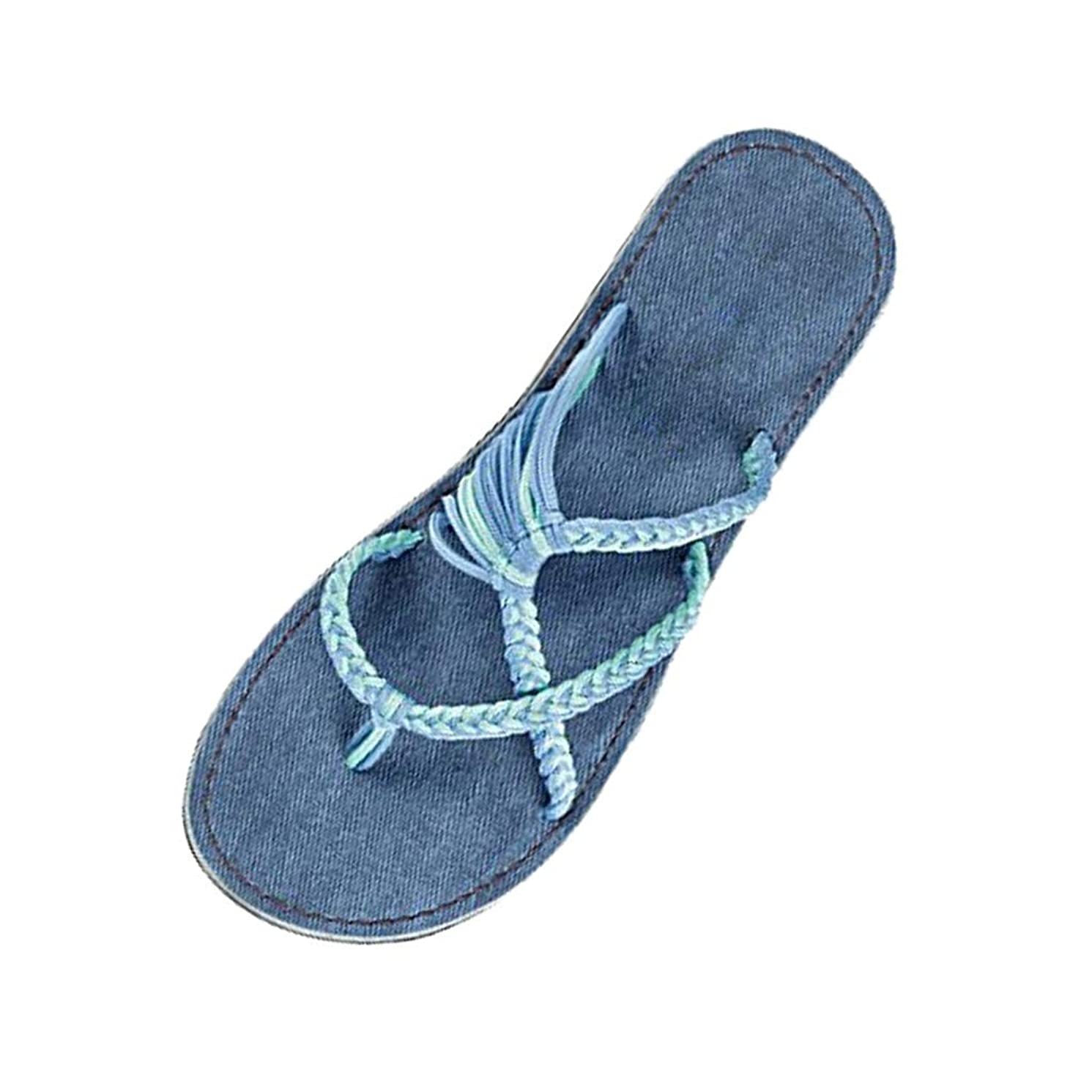 Respctful?Women Casual Flat Slide Sandals for Womens Braided Strap Summer Non Slip Flat Sandals