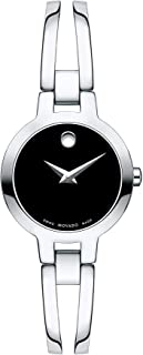 Movado Women's Amorosa Stainless Watch with a Concave Dot Museum Dial, Silver/Black (Model 607153)