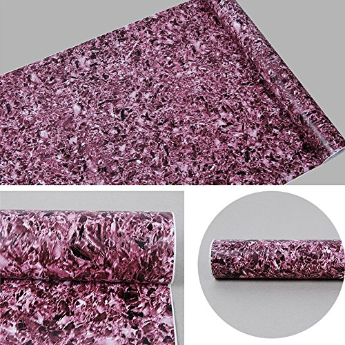 Yifely Purple Granite Marble Effect Furniture Paper Removable Vinyl Shelf Liner Cupboard Sticker 17.7 Inches by 9.8 Feet