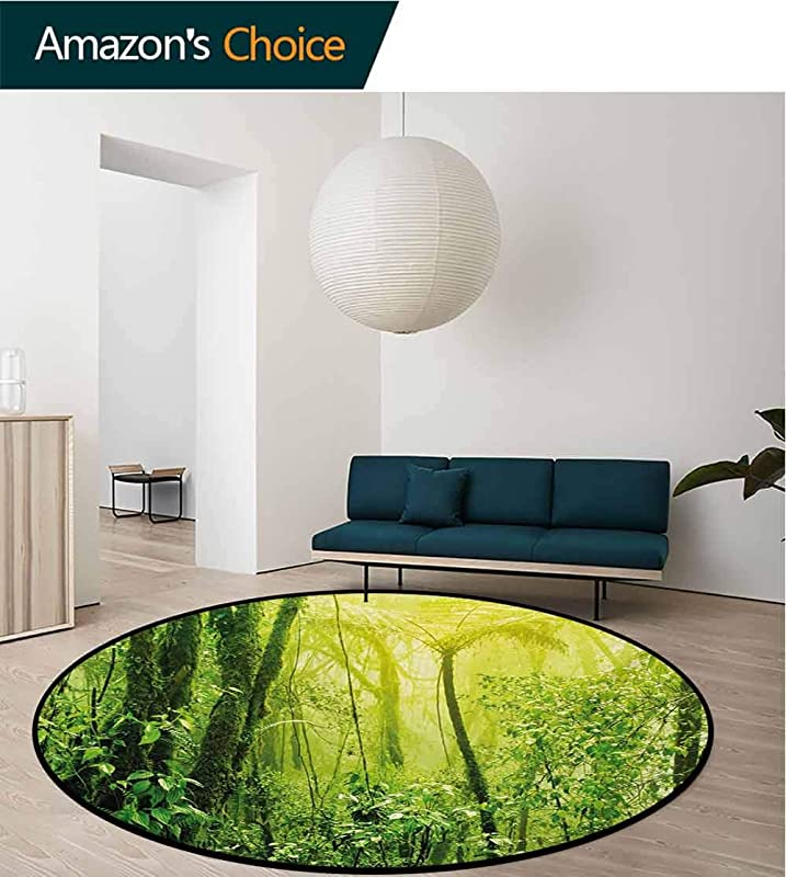 Green Machine Washable Round Bath Mat Tropical Amazon Wildlife Nature Forest With Branches And Tree Art Non Slip No Shedding Bedroom Soft Floor Mat Diameter 24 Inch Pale Green And Forest Green