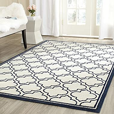 Safavieh Amherst Collection AMT412M Ivory and Navy Indoor/ Outdoor Square Area Rug (7' Square)