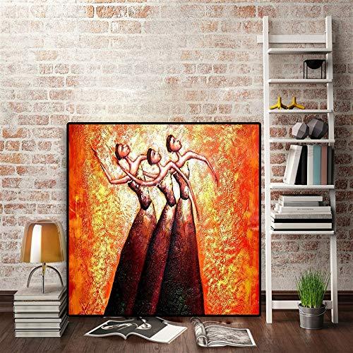 Olieverf canvas achtergrond muur opknoping Abstracte Balletdanser Frican vrouw Scandinavische Pop Geschikt voor woonkamer in galerij kamer met loopbrug trappen