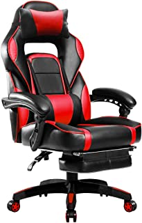 Merax Racing, Ergonomic Gaming Footrest, PU Leather Swivel Computer Home Office Chair Including Headrest and Lumbar Support (red)