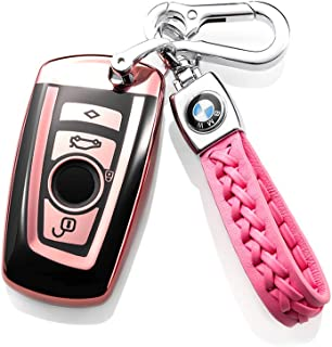 121Fruit Way for BMW Car Key Fob Cover, Soft TPU BMW Key Case Shell Pouch for BMW 1 3 4 5 6 7 Series and BMW X3 X4 M5 M6 GT3 GT5 BMW Keyless Entry Key Cover_Pink
