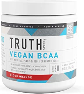 Truth Nutrition Fermented Vegan BCAA Protein Powder Supplement- 2:1:1 Improved Formula is Pure, Powerful All Natural Branched Chain Amino Acids (Blood Orange, 30 Servings)