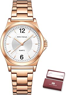 MINI FOCUS Women Quartz Watch Women's Fashion Watches with Solid Steel Strap 3ATM Waterproof Female Wristbands for Busines...