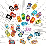 Fun Express Mega Dog Tag Necklace Assortment - 100 Pieces - Educational and Learning Activities for Kids
