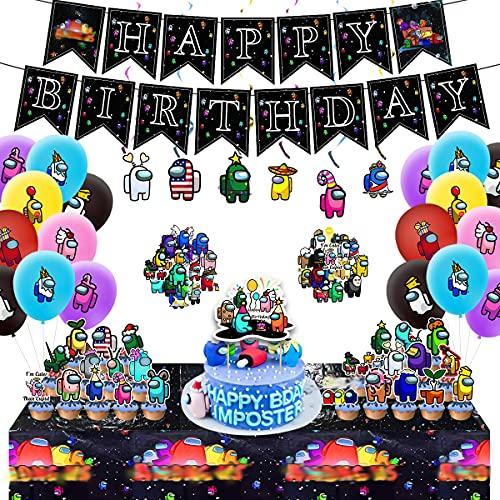 Decoración de cumpleaños Among U-s, 101 unidades, decoración para fiestas, decoración de cumpleaños, pancartas, mantel, globos, pegatinas, decoración para cupcakes, niños, niñas