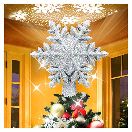 Chriffer Christmas Tree Topper Snowflake Tree Decorations Lighted with LED Snowflake Projector, 3D Silver Snowflake Night Light Festival Romantic Indoor Light Lamp Gift Present for Home Indoor