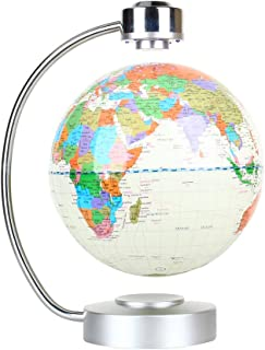 """Floating Globe, Office Desk Display Magnetic Levitating and Rotating Planet Earth Globe Ball with World Map, Cool and Educational Gift Idea for Him - 8"""" Ball with Levitation Stand (White)"""