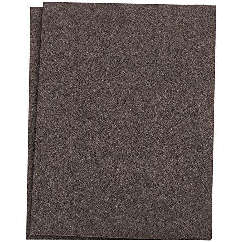 SoftTouch Self-Stick Furniture Felt Sheet for Hard Surfaces to Cut into Any Shape (2 pack) - Walnut Brown, 4-1/2