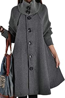 Women's Wool Blend Cloak Coat Turtleneck Button Down A Lined Overcoats