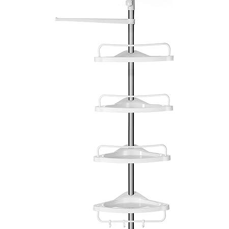 SONGMICS Estante de Baño Ajustable, Columna de Ducha Telescópica, 95-300 cm, de Suelo a Techo, con Marco de Acero Inoxidable, 4 Bandejas, 3 Ganchos, 1 ...