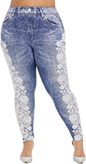 Tsmile Women Plus Size Denim Jeans Cowboy Lace Printing Elastic Waist Button Casual Leggings Dress Pants with Pockets