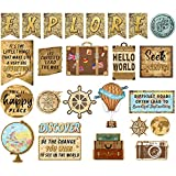 25 Pieces Travel Map Bulletin Board Mini Travel Decoration Cutouts Travel Themed Board Sign Travel Wall Classroom Decoration Party Decors with Adhesive Dots for Kids Nursery Homeschool Kindergarten