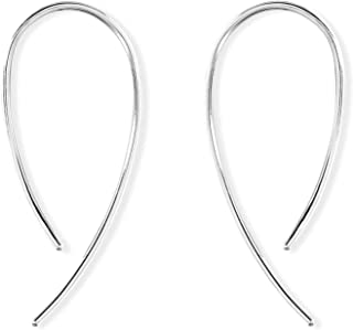 Boma Jewelry Sterling Silver Wire Loop Pull Through Threader Hoop Earrings