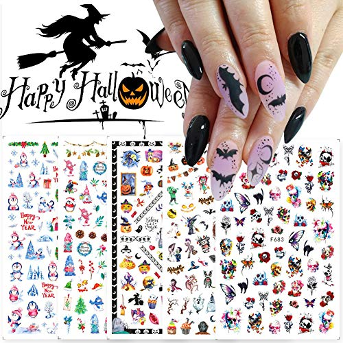 Halloween Christmas Nail Art Stickers Decals 3D Self-Adhesive Snow Skull Ghost Pumpkin Designs Nail Foils for Nail Arts Colorful Nail...