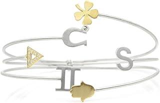 Braccialetto personalizzato - Personalizzabile - Braccialetto lettere - Iniziale - Shamrock - Braccialetto Zodiac - Gioiel...