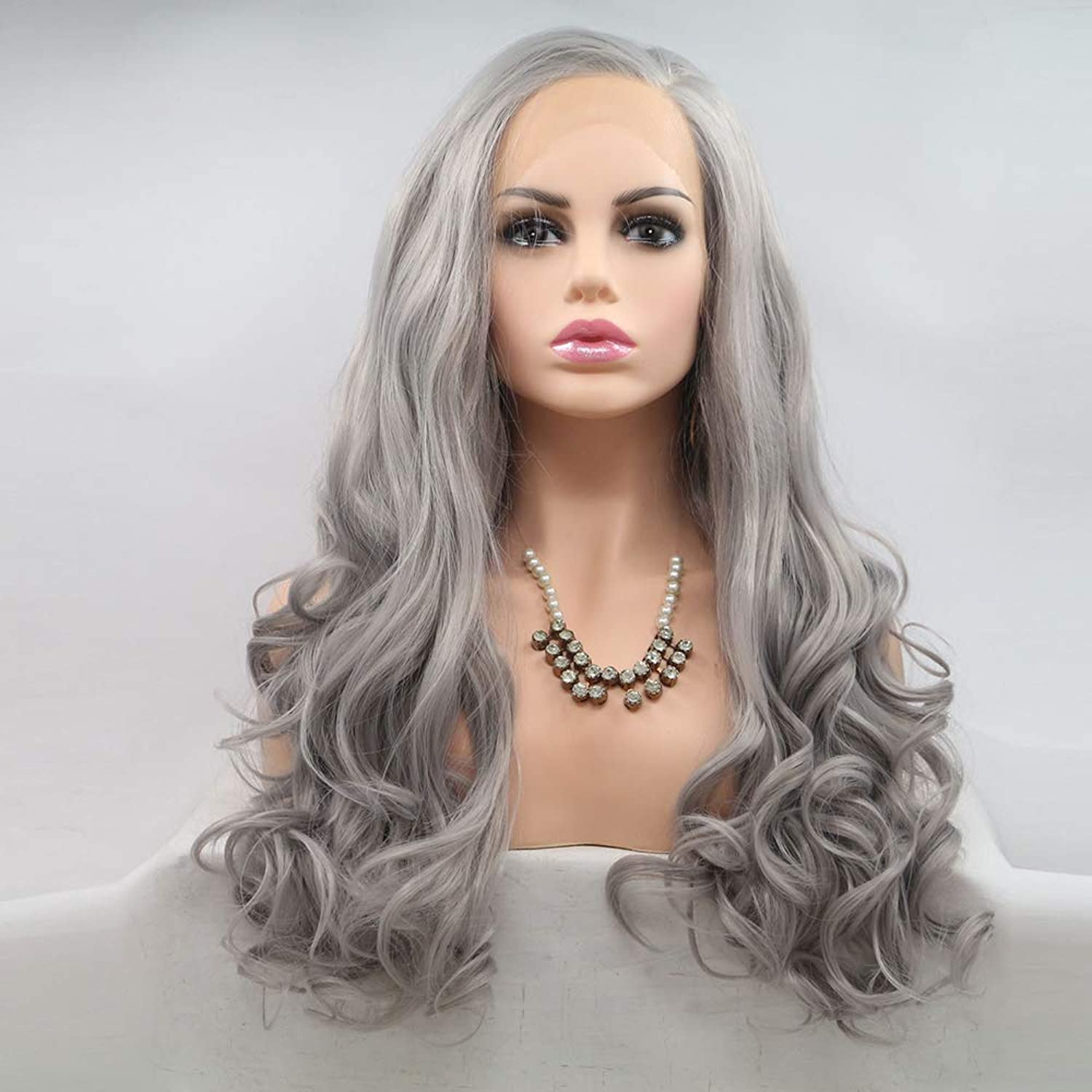 HXPH Long Wave Wigs Medium Length Bob Straight Synthetic Hair Full Wigs for Women Lace Wigs Heat Resistant Fiber Glueless Hair 183% Cosplay or Daily Use Wig for