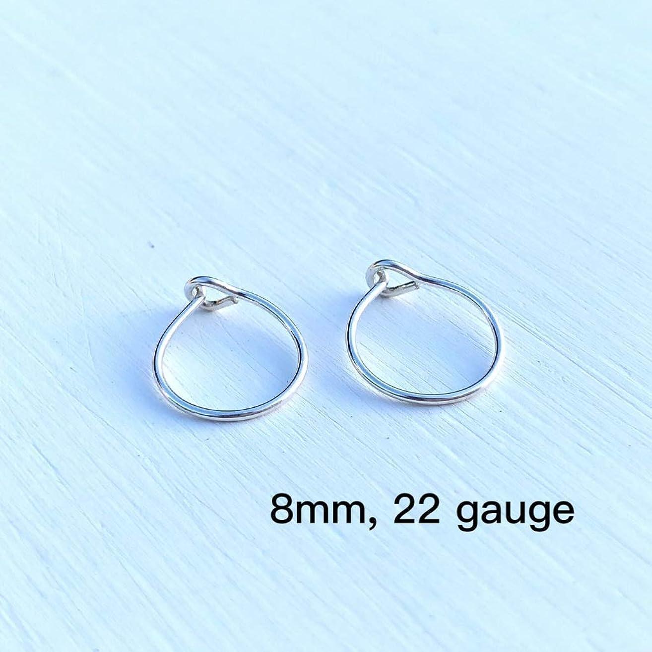 Extra Small Sterling Silver Hoop Earrings 8mm, Handmade Tiny Thin Hoops, 22 Gauge