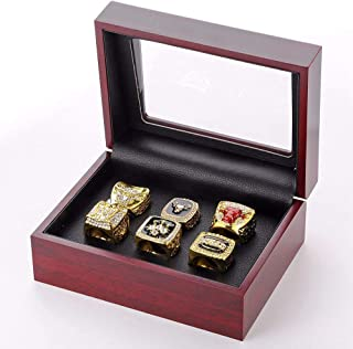 AJZYX 6PCS Bulls Championship Replica Ring Set Collectible Fan Gift with A Wooden Box Size 11