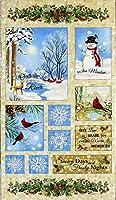 TT-3773 雪景色、スノーマン、カーディナル、雪の結晶 クリスマスパネル/ネル/ベージュ 59*110 未完成品 コットンプリント生地