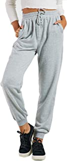 Women's High Waist Jogger Cozy French Tetty Workout Ankle Cuff Sweatpants with Pockets