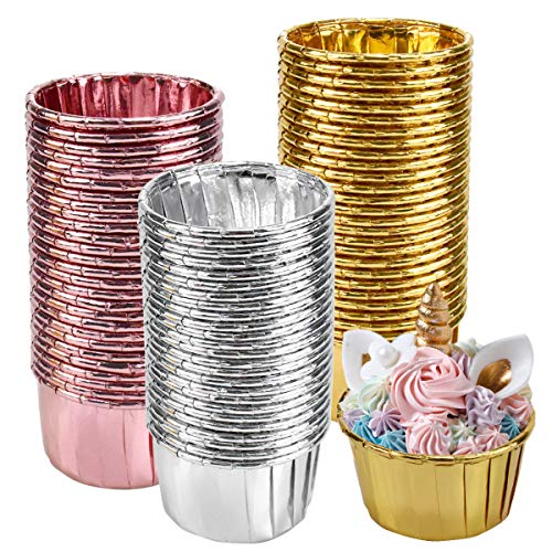 kissral 150 Pcs Papel de Aluminio para Cupcakes, Moldes Mini Magdalenas, para Hornear Magdalenas, Fiesta de Bodas, Cumpleaños, Color Dorado, Plateado y Oro Rosa