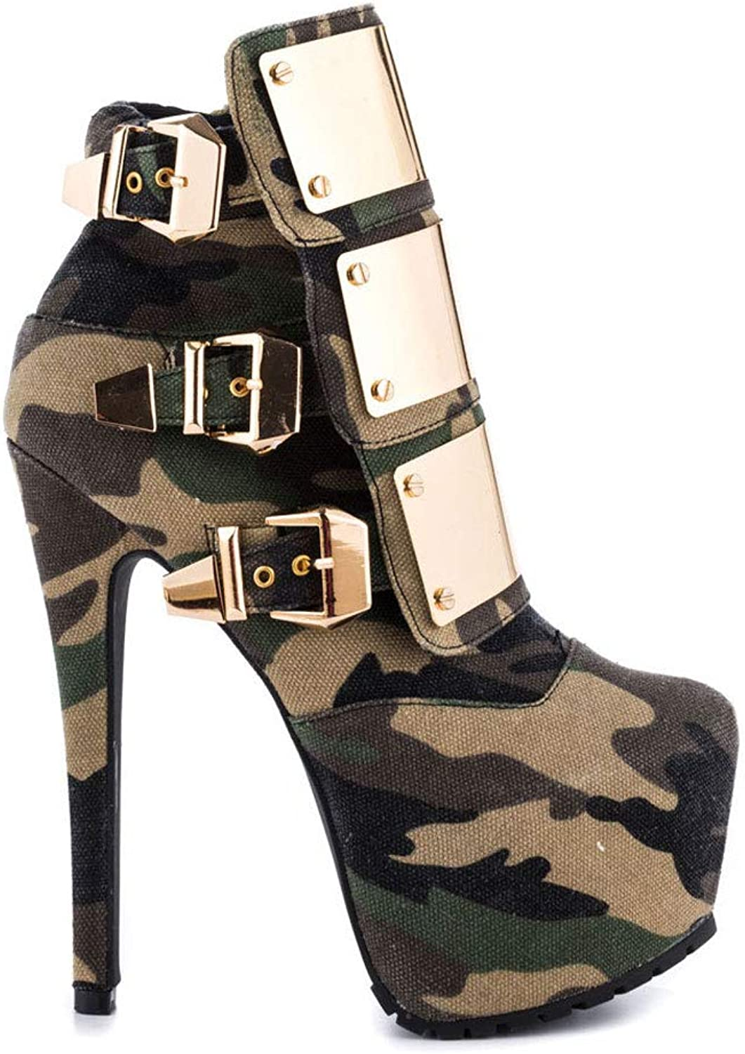 Women's High Stiletto Heels Ankle Boots Waterproof Platform Shiny Metal Buckle Short Boots Camouflage Round Head Side Zipper Rivets Non-Slip Adult Boots