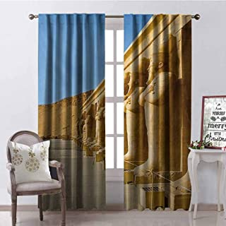 GloriaJohnson Pillar Wear-Resistant Color Curtain The Aged Facade of Hatshephut Temple with The Ancient Old Osirian Statues Print Waterproof Fabric W52 x L95 Inch Earth Yellow