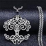 YUANBOO Nudo irlandés de la Vida Collar Colgante de Acero Inoxidable Mujeres/Hombres Collar de Color Plateado Collares de joyería de Mujer