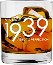1939 80th Birthday Gifts for Men and Women Whiskey Glass | Bourbon Scotch Glasses 80th Bday Gift Ideas for Him Her Dad Mom Husband Wife | 11 oz Whisky Old Fashioned Bar Glasses Lowball Decorations