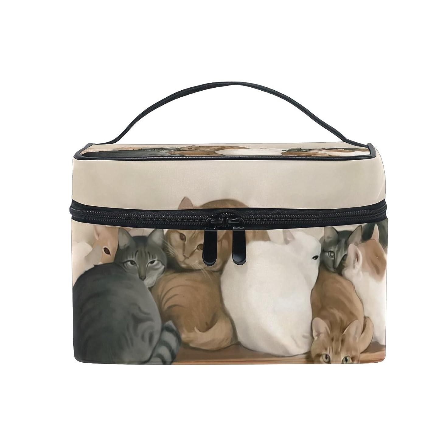 Natax 化粧ポーチ 大容量 かわいい おしゃれ 機能的 バニティポーチ 収納ケース ポーチ メイクポーチ ボックス 小物入れ 仕切り 旅行 出張 持ち運び便利 コンパクトかわいい猫