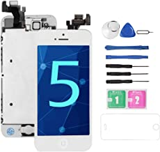 Drscreen for iPhone 5 Screen Replacement [White], I5 Full Assembly with Home Button, Front Camera,Glass LCD Digitizer Touch Screen Display for A1428/A1429/A1442, w/Repair Tools Kits Screen Protector
